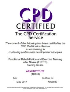 cpd ARNI COURSE 229x300 - 5-day Accreditation for Therapists and Instructors - Stroke Exercise Training