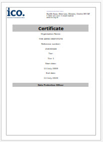 ARNI CHARITY IPO CERTIFICATE - ARNI Data Privacy - Stroke Exercise Training