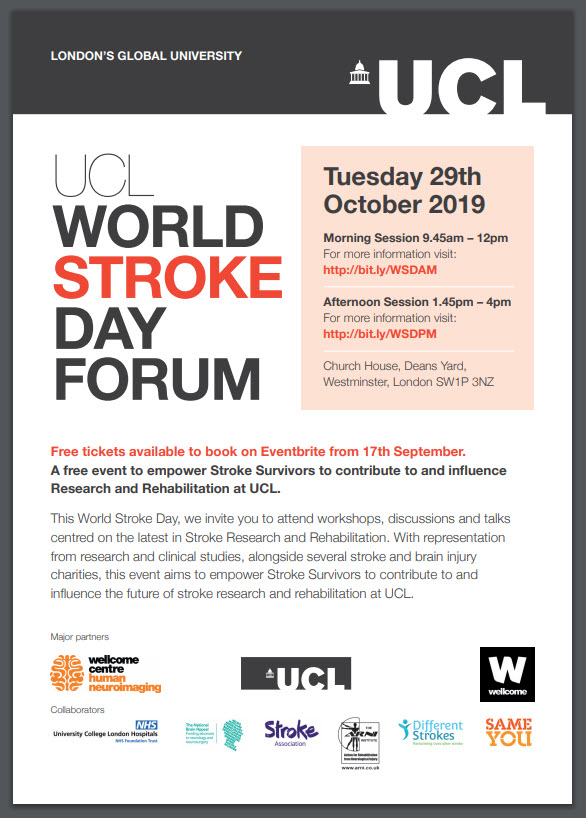 UCL FLYER STROKE FORUM DAY ARNI - Free! Stroke Rehab and Research Event - Stroke Exercise Training